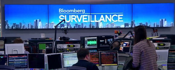 "A screen capture from the television program ""Bloomberg Surveillance."""