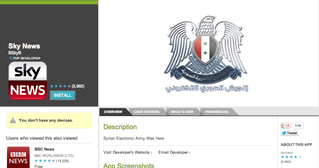 Hallmarks of the Syrian Electronic Army appear on the Google Play page for the Sky News application.