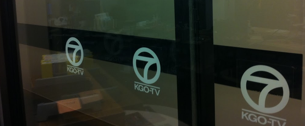 A glass door for a room at KGO-TV in San Francisco (The Desk: Matthew Keys)