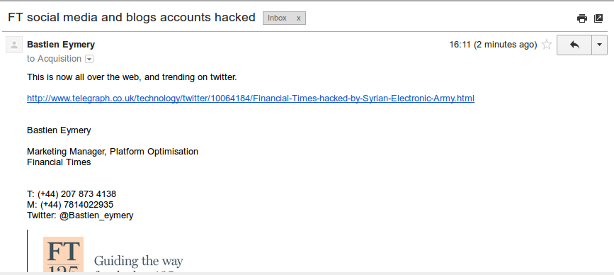 A screen grab provided by the Syrian Electronic Army purports to show a phishing attack on the Financial Times (click for larger)