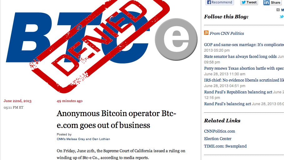 An errant article regarding a Bitcoin operation briefly appeared on a CNN political blog on Friday. (Photo: The Desk)