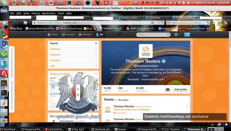 Exclusive: Screen capture shows attack on Thomson Reuters Twitter account (The Desk / provided by SEA)