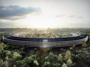 "A rendering of Apple's new ""spaceship"" campus, to be built in Cupertino (Apple press photo)"