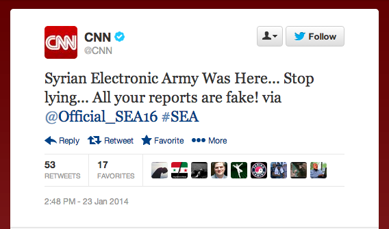 A message posted to the compromised Twitter account used by CNN. (Photo: The Desk via Twitter)
