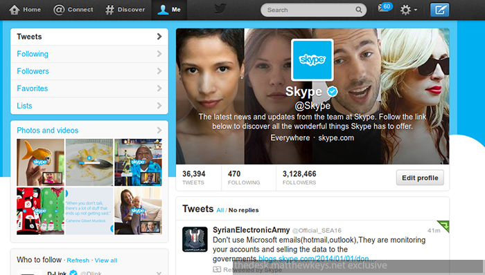A screen capture provided to The Desk purports to show the compromised Skype Twitter account. (The Desk)