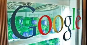 A Google-branded refrigerator is filled with the citrus beverage Sprite. [Photo: Aray Chen / Flickr CC]