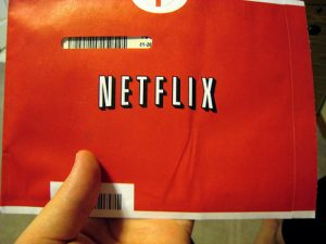 A Netflix DVD-by-mail envelope.