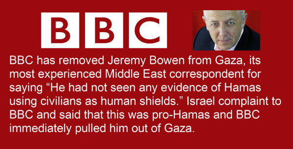 A graphic circulating on Twitter and Facebook falsely claims BBC correspondent Jeremy Bowen has been removed from Gaza over anti-Israeli reporting.