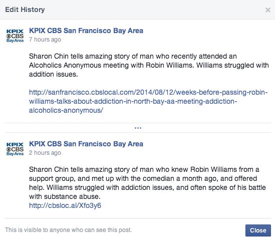 kpix tv slammed over robin williams alcoholics anonymous. Black Bedroom Furniture Sets. Home Design Ideas