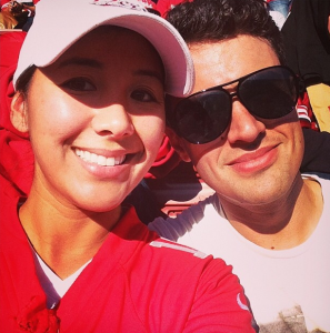 Former KTXL reporter Sabrina Rodriguez, left, with former boyfriend Nicholas Gray, right, at a football game. (Photo: Sabrina Rodriguez via Instagram)