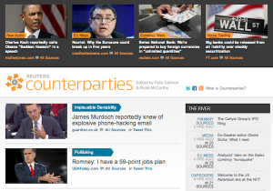 "A screen capture showing the Reuters ""Counterparties"" news portal. (Photo: Nieman Lab)"