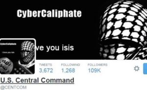 A screen capture from the compromised US Central Command Twitter account as it appeared on Tuesday, January 13, 2015. [Image: The Desk]