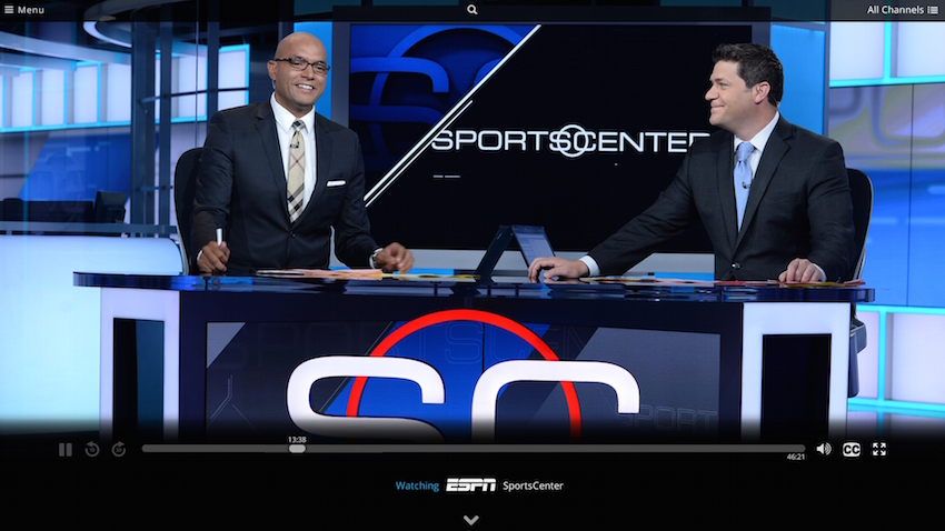 "A broadcast of ESPN's ""SportsCenter"" as viewed through Dish Network's forthcoming service ""Sling TV."" [Photo: Supplied]"