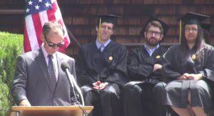 New York Times journalist David Carr speaks to the graduating class of the U.C. Berkeley School of Journalism on May 23, 2014. [Photo: UC Berkeley School of Journalism / screen grab via YouTube.com]