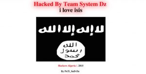 """A website is defaced by hacker """"Poti Satz"""" as part of a collective calling itself """"Team System Dz."""" The attack was one of the last before the group went quiet in October 2014. [Photo: The Desk]"""