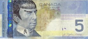 A Canadian banknote defaced with the image of Leonard Nimoy as Spock. (Image: Reddit)