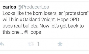 The tweet sent by KGO freelancer Carlos La Roche that led to his termination on Sunday. (Photo: @marymad/Twitter)