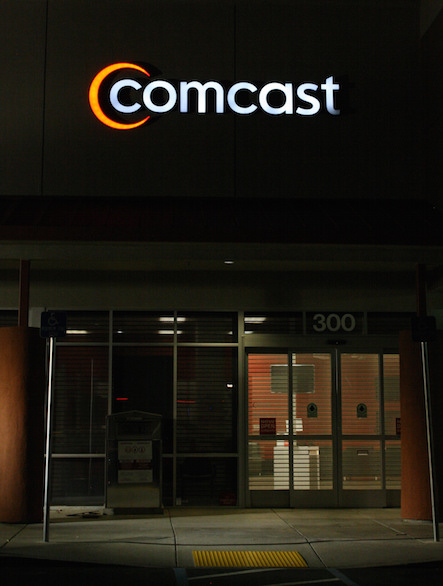 The Comcast logo is seen on a retail store in Sacramento, California on July 3, 2015. (Photo: Matthew Keys / The Desk)