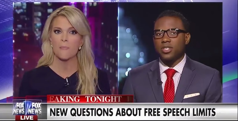 FOX News personality Megyn Kelly and a guest discuss the limitations of free speech during a recent segment. (Photo: FOX News Channel)