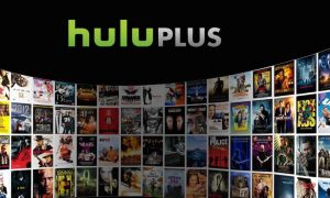 The Hulu Plus logo is seen in front of a wall of on-demand films. (Photo: Hulu/Handout)