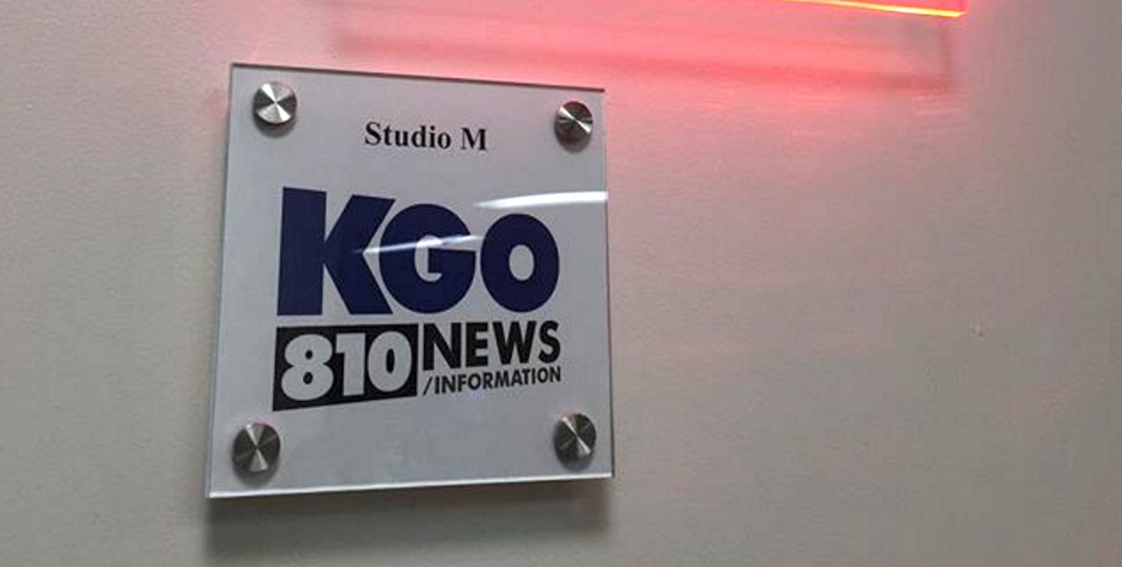 A sign at KGO Radio in San Francisco. (Photo: KGO via Instagram)