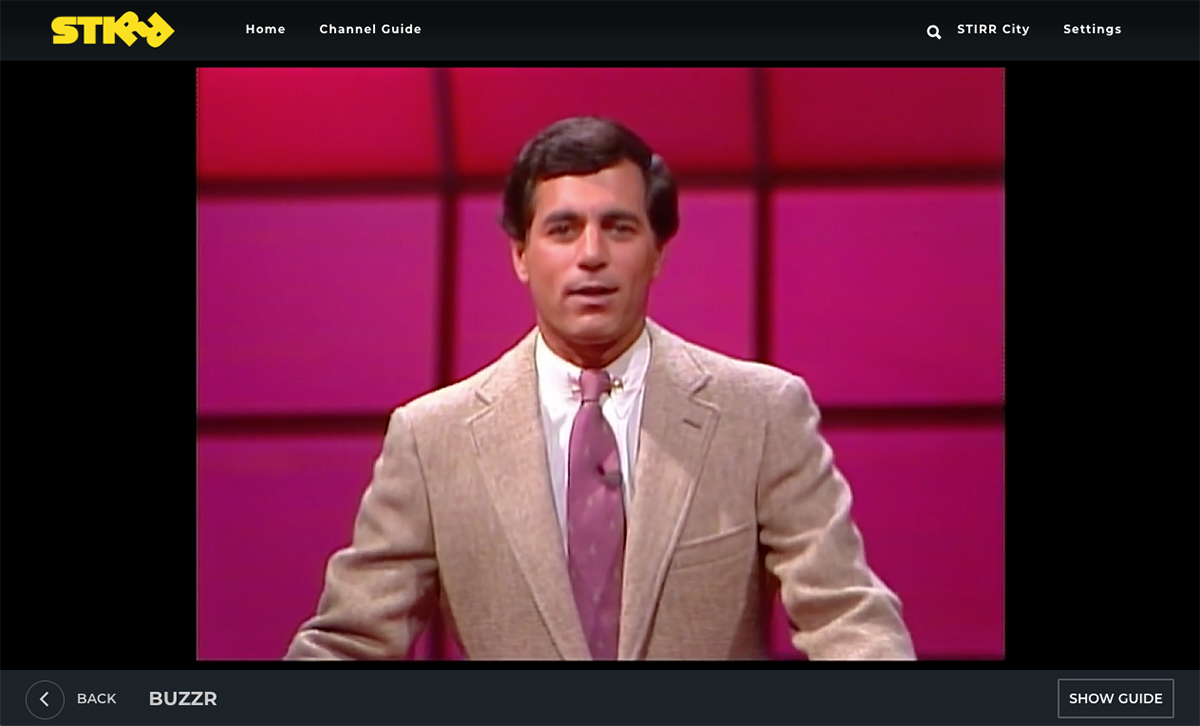 The Buzzr network as it appears on STIRR, a new streaming network from Sinclair Broadcasting Group.