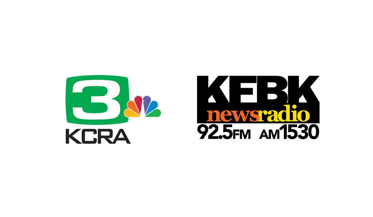 The logos of KCRA Channel 3 and KFBK 1530 AM / 93.1 FM.