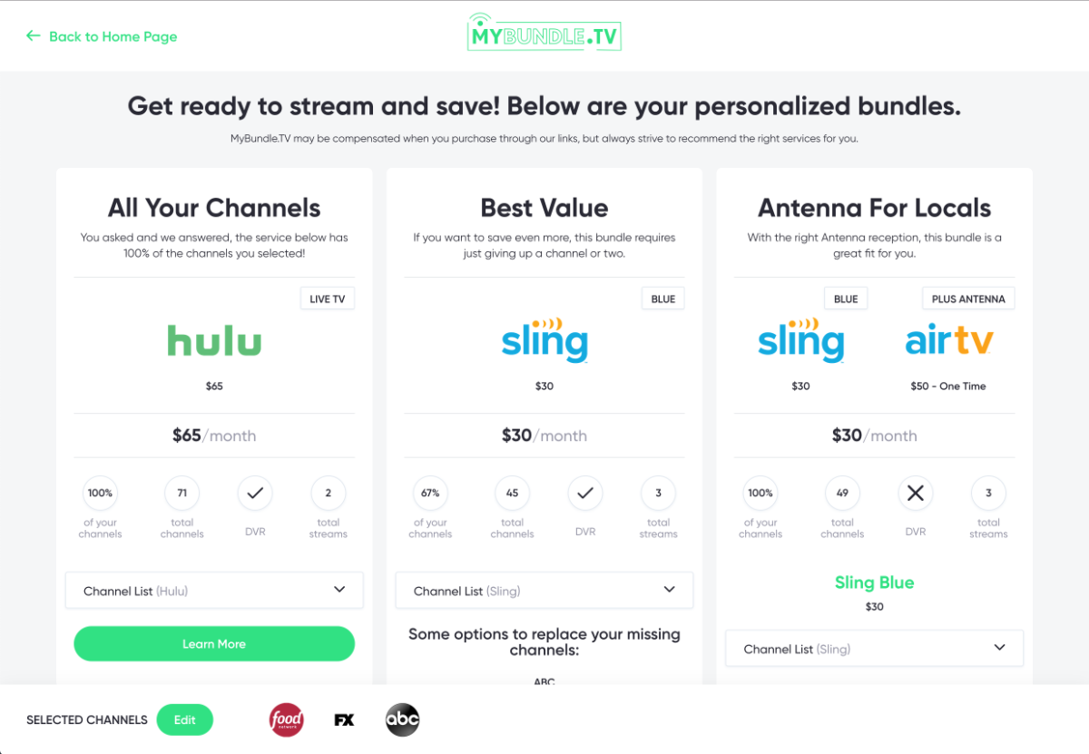 MyBundle.TV's recommendation engine helps pair streaming services based on the content preferences of Internet customers.